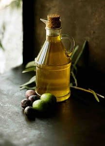olive oil in bottle, olives