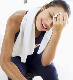 woman sweating exercise