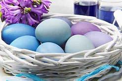 white wicker basket with naturally dyed blue eggs
