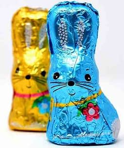 foil wrapped chocolate easter bunnies