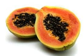 papaya cut in half