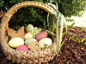 natural easter basket with light colored eggs