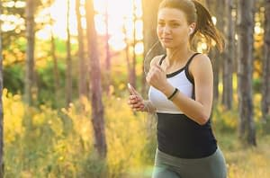 girl running, forest