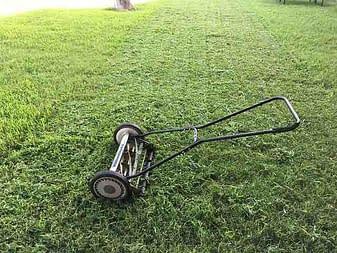 push mower and green grass