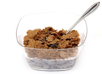 Raisin bran cereal bowl