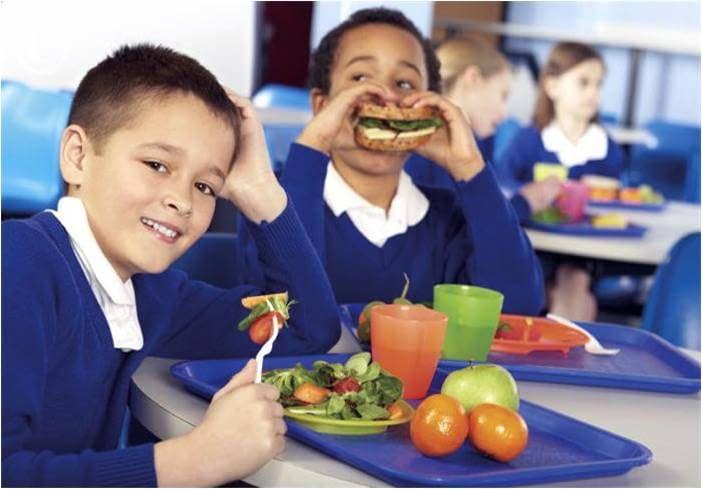 kids eating school lunch