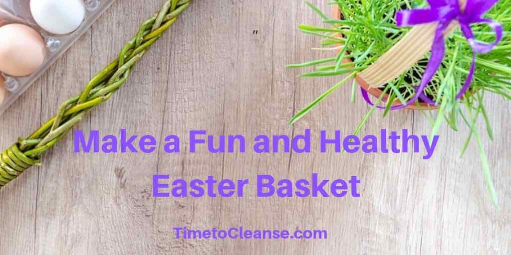 Make a fun and healthy easter basket banner with natural eggs natural grass and braided stick