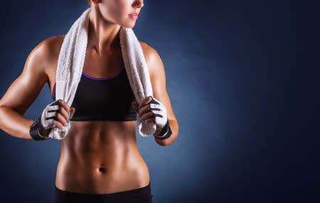woman after workout with towel