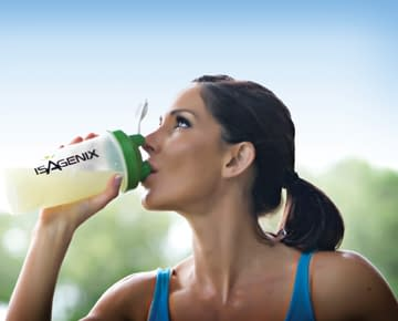 woman drinking isalean shake