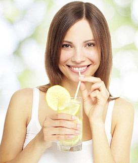 woman slim drinking water