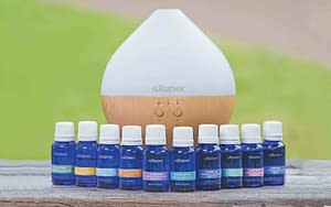 essential oils collection with diffuser