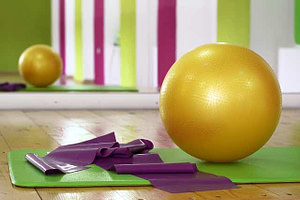 exercise ball yoga mats with wood floor and mirror