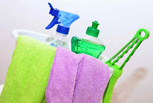 cleaning supplies with bucket soap and cloth