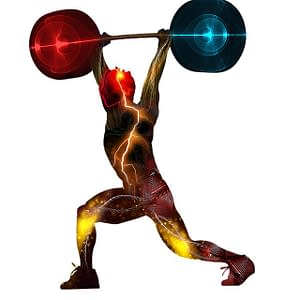 colorful man weightlifting