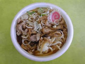strofoam bowl with udon noodle soup