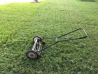 push mower and green grass