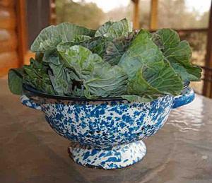 collard greens in blue colander