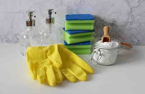 gloves sponges baking soda for cleaning