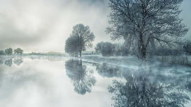 frosty winter icy trees steam rising from river