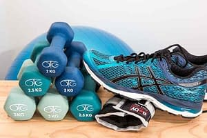 dumbells and running shoes