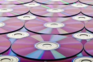 Colorful stack of CD's