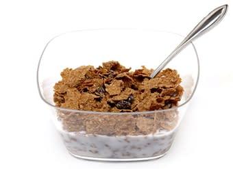 Raisin bran cereal bowl