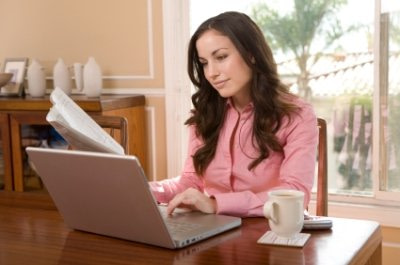 lady working at home