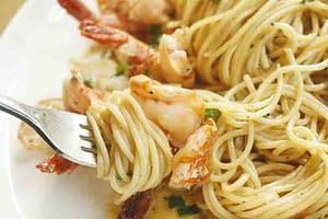 pasta shrimp and fork