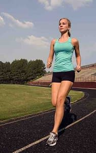 girl running on a track